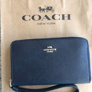 Coach Bags - Small Wristlet in Midnight Blue